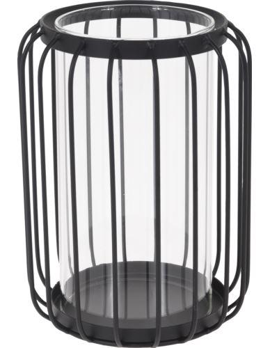 Lampion druciany ze szklanym wkładem H20cm
