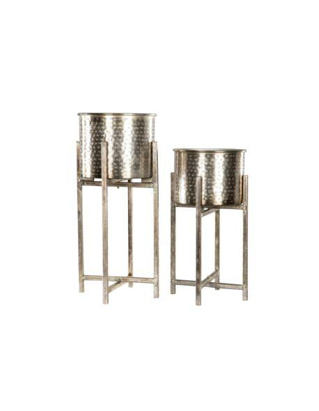 Doniczki metalowe na stojakach szampan 2 szt.