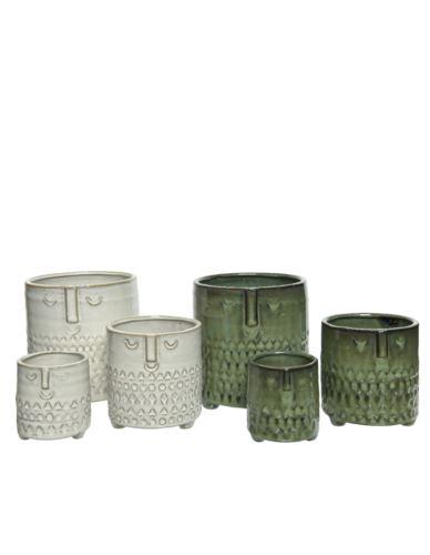 Doniczki ceramiczne twarze 3 szt.