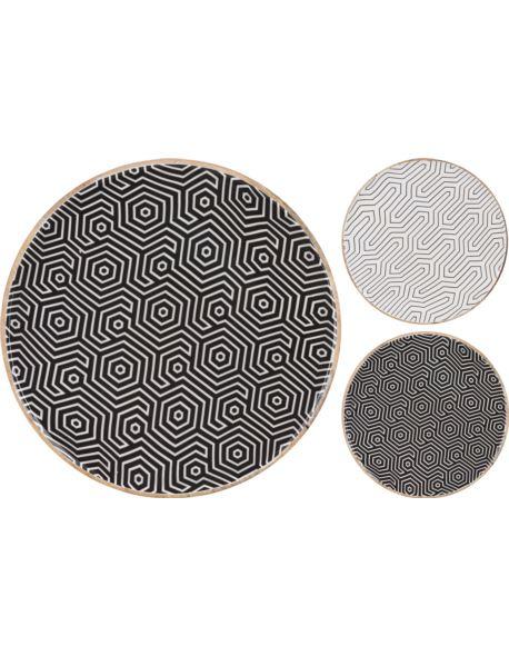 Taca/Talerz z drewna mango czarny/biały wzór