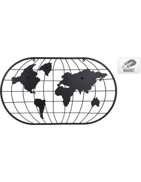 Metalowa dekoracja ścienna - Mapa świata
