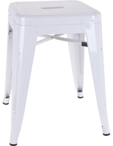 Stołek / Taboret metalowy loft biały