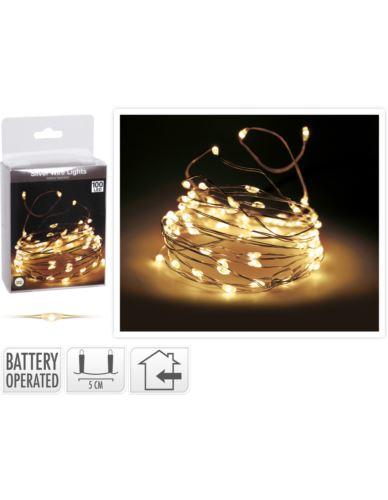 Drucik srebrny 100 LED na baterie