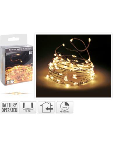 Drucik 100 LED Baterie Srebro z timerem