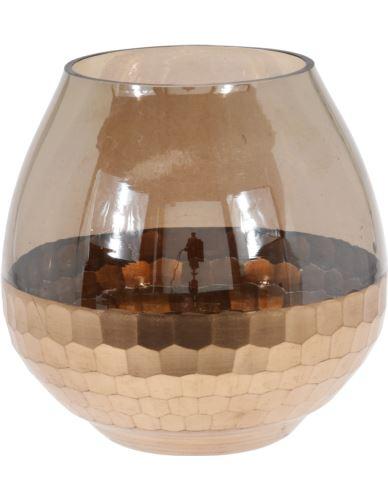 Lampion Szklany dymiony plaster miodu 15x15