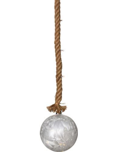 Kula szklana D20cm LED na jutowym sznurze
