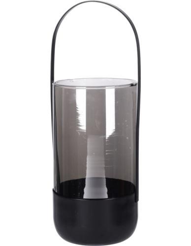 Lampion Szklany lustrzany z rączką H33 cm