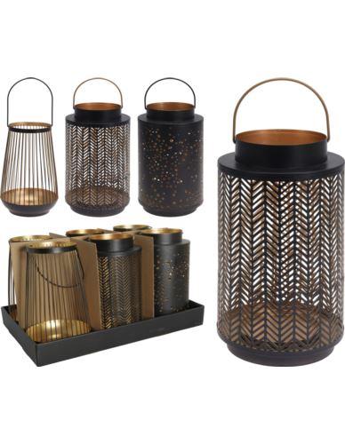 Lampion Metalowy czarno-złoty H24cm mix