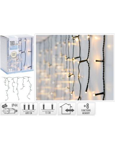 Łańcuch Świetlny Kurtyna 180 LED Ciepły