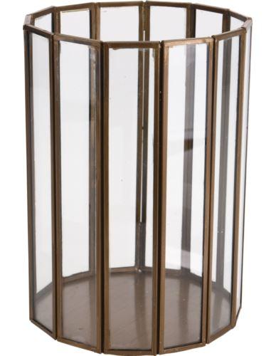 Lampion Szkl. Cylinder Złote Pasy 20 cm