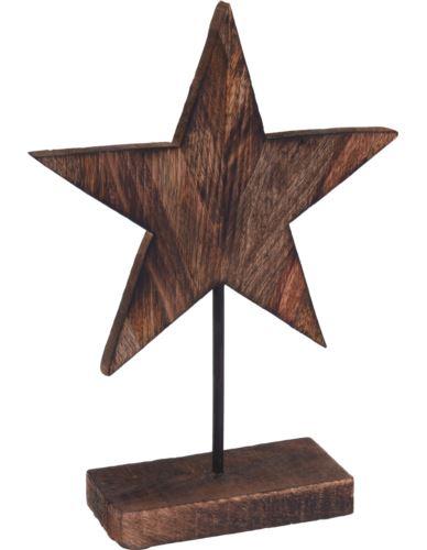 Gwiazda na podstawie H26 cm palone drewno