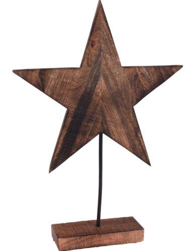 Gwiazda na podstawie H40 cm palone drewno