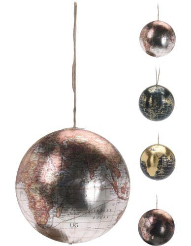 Bombka Globus kolor metalik mix H7,5cm