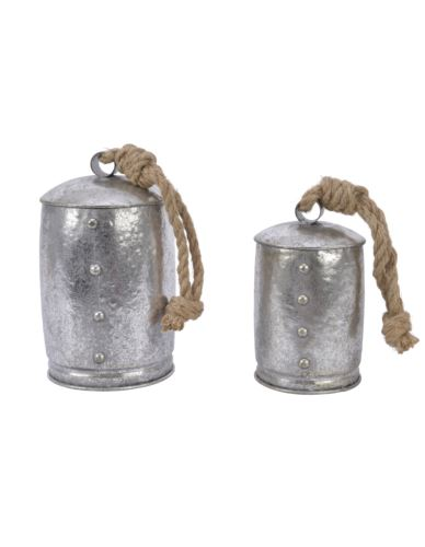 Dzwonki metalowe na sznurku jutowym stare 2 szt.