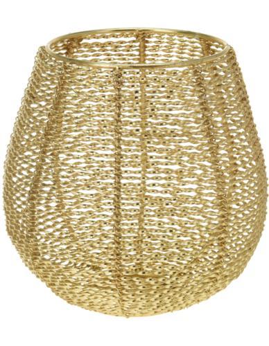 Świecznik metalowy ażurowy Złoty H15 cm