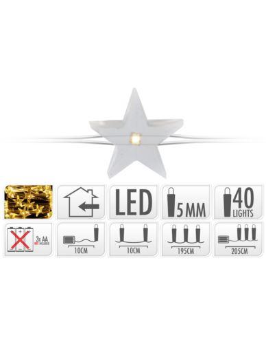 Drucik srebrny 40 LED Gwiazdki na baterie