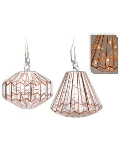 Lampion Szklany Miedziany LED