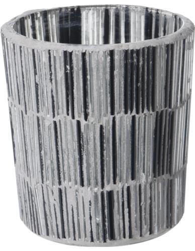Świecznik szklany Tealight Mozaika Cylinder H7 cm