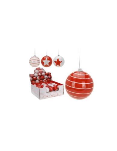 Bombka Plastik Biało-Czerwona Mix