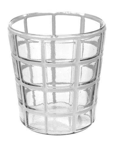 Lampion Szklany Biały Wzór Mix M