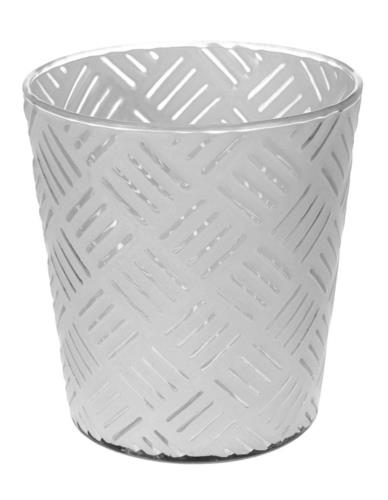 Lampion Szklany Biały Wzór Mix S