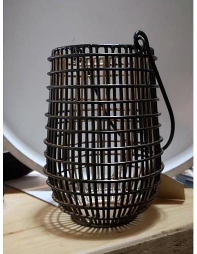 Lampion Metalowy Czarno-Złoty Kratka S